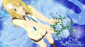 Блондинка с голубыми розам.