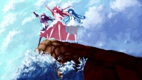 Аниме Девушки из Вторжения кальмарки на краю скалы