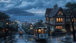 Ночной город в аниме стиле