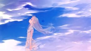 Девушка из аниме Невиданный цветок смотрит на небо