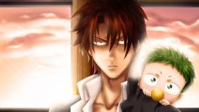 Аниме Мужчина, зеленые волосы, каштановые волосы, Baby Be'el