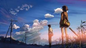 Аниме Трава, униформа, Shinkai Makoto, облака, Пять сантиметров в секунду, sumida_kanae, юбка