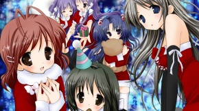 Аниме Furukawa Nagisa, Кланнад, Ichinose Kotomi, Sakagami Tomoyo, Томоё Сакагами, Fujibayashi Kyou, Санта-костюм