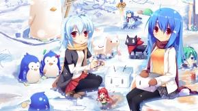 Аниме Мелочи жизни, Шана, снег, пингвин, синие волосы