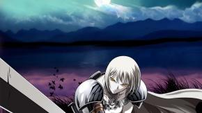 Аниме Клеймор, небо, оружие, меч, луна, Claymore
