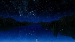 Аниме Pai, звезды, вода, ночь, автограф, дерево, Темнее черного, Пай, небо, Darker than Black