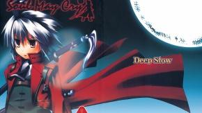 Аниме Данте, короткие волосы, меч, Dante, красные глаза, луна, И дьявол может плакать, touhou