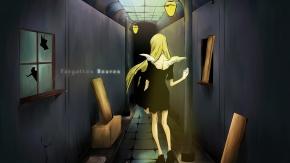 длинные волосы, крылья, светлые волосы, платье, тьма