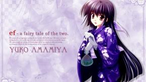 Аниме Девочка в кимоно синего цвета