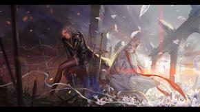 Аниме Alphonse, С Irisviel Einzbern, цветы, длинные волосы, меч, оружие