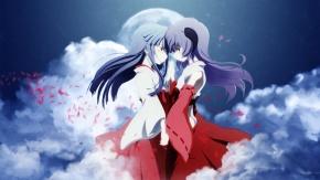 Аниме Облака, рожки, Furude Rika, японская одежда, Мико