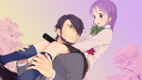 Аниме униформа, пурпурные волосы, Kudou Michiya, цветущая сакура