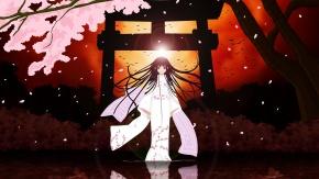 Аниме Ай Энма, Лепестки, японская одежда, черные волосы, кимоно