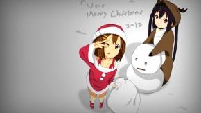 Аниме Hirasawa Yui, карие глаза, Накано Азуса, Санта-костюм