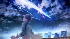 Аниме облака, короткие волосы, ночь, здание, город, мужчина