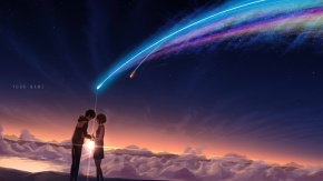 Аниме пейзаж, фотошоп, Tachibana Taki, облака, униформа, Miyamizu Mitsuha