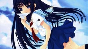 Аниме Голубые глаза, Эрико Футами, KimiKiss Pure Rouge, длинные волосы, Hinayuki Usa, униформа