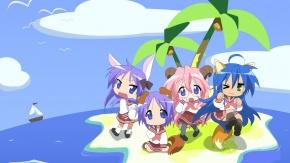 Hiiragi Tsukasa, уши животных, Изуми Коната, Hiiragi Kagami, Lucky Star, униформа, дубль