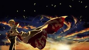 Аниме закат, Наруто Удзумаки, светлые волосы, облака, Наруто