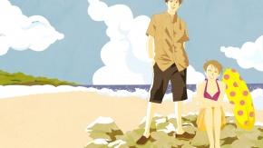 Аниме Облака, Нода Мегуми, пляж, Синъити Тиаки