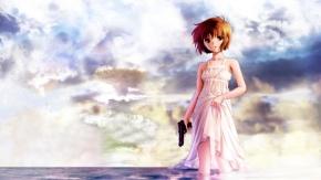 Аниме Вода, короткие волосы, Нуар, Yuumura Kirika, Юмура Кирика, оружие, Noir, пистолет, небо