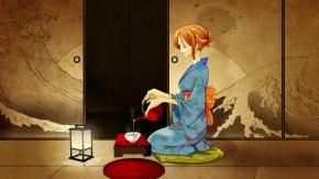Аниме Нами, рыжие волосы, японская одежда, кимоно, Nami, Ван Пис