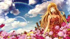 Радуга, облака, небо, длинные волосы, платье