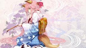 Оригинал, хвост, кимоно, розовые волосы, японская одежда, masatou, shirabi_(life-is-free)