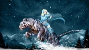 Зима, чулки, тигр, снег