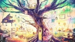 Оригинальный дом на дереве. рисунок