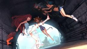 Девчонки дурачатся в туннеле. Оригинально