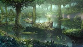 Аниме Животные, цветы, птица, пейзаж, лес, оригинал, дерево