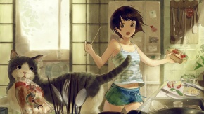 Черные глаза, короткие волосы, кошка, животные
