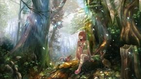 Потрясающий сказочный лес в аниме стиле