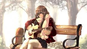 Гитара, каштановые волосы, инструмент, оригинал