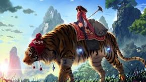 Сверкающий меч в руках хрупкой девушка на тигре