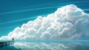 небо, облака, птица, живописный пейзаж, вода
