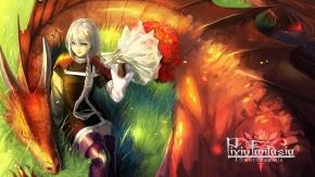 седые волосы, Дракон, цветы
