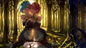 Аниме розовые волосы, 2 девушки, синие волосы, лес, дерево