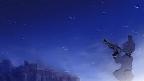Аниме Звуки небес, животные, ночь, Сорами Каната, небо, птица