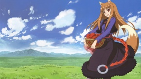 Аниме Волчица и пряности, пейзаж, облака, уши животных, платье, Холо, трава