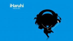 Suzumiya Haruhi, шаблон, Ipod, Suzumiya Haruhi no Yuuutsu, Харухи Судзумия, чиби, синий