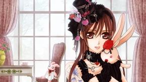 Девушка с красными волосами и кроликом