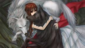 Девушка обнимает волка. Аниме Рыцарь-вампир