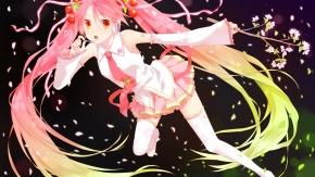 Вокалоид, Sakura Miku, Hatsune Miku, цветущая сакура, юбка